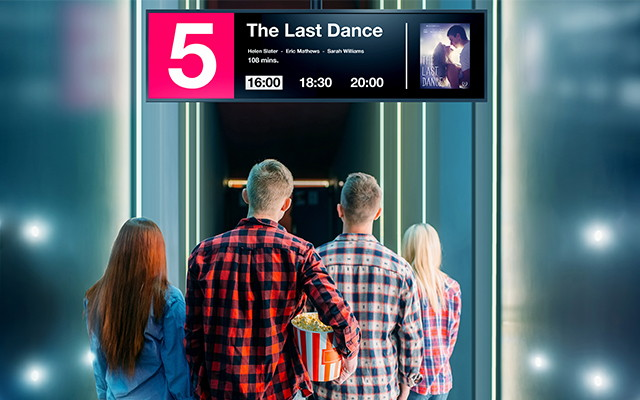 The ultra-wide BT421 display offers a distinctive 16:4 format, which perfectly integrates into constricted environments such as along corridors, above doorways or within shelving